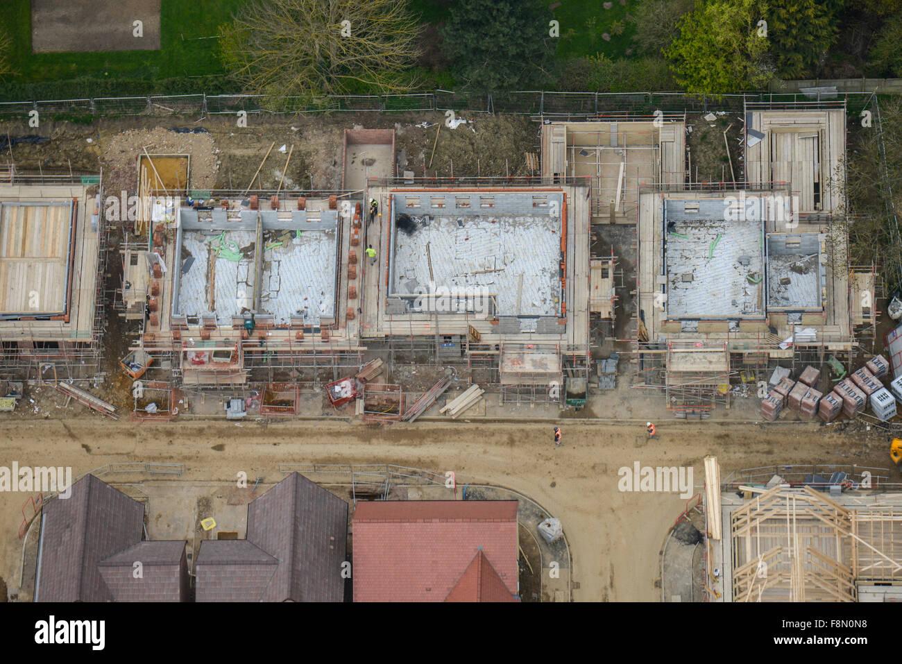 Eine Luftaufnahme von einem Greenfield Haus Neubauprojekt in Northamptonshire Stockbild