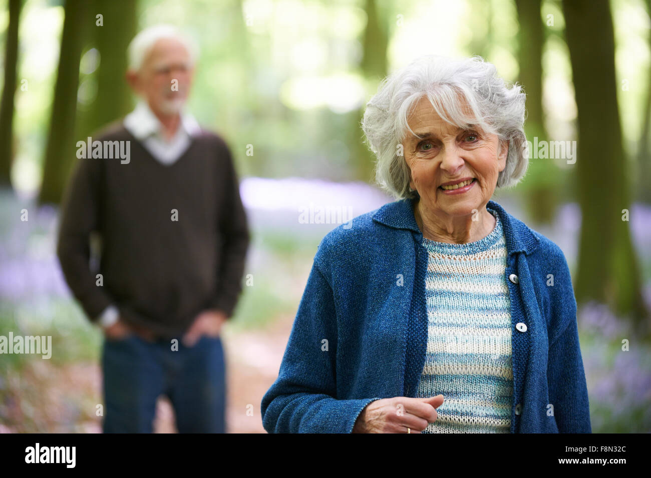 Outdoor Portrait Of Happy Senior Couple Stockbild