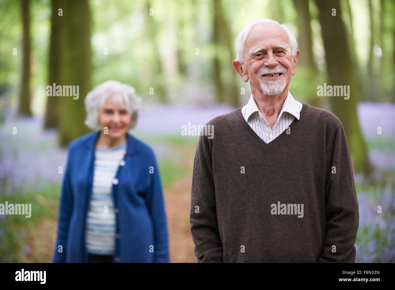 Outdoor Portrait Of Happy Senior Couple Stockbild