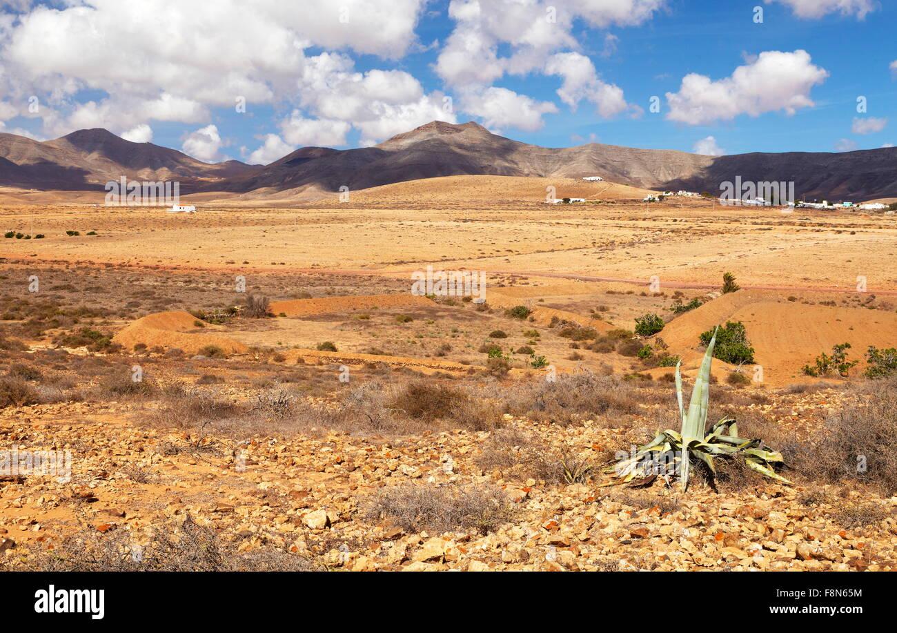 Insel Fuerteventura, Landschaft in der Nähe von Oliva Village, Spanien, Kanarische Inseln Stockbild