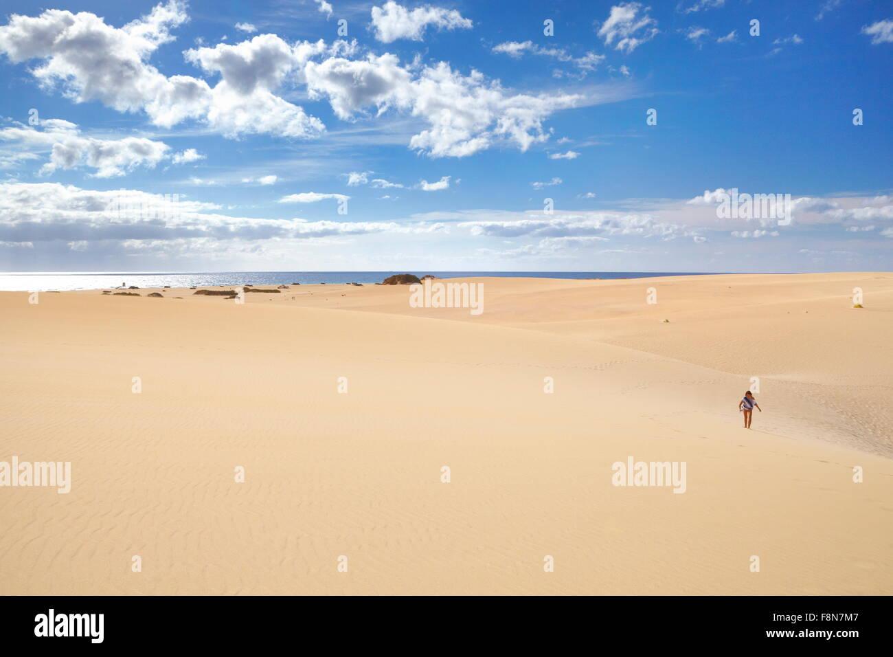 Landschaft aus Sanddünen im Parque Natural de Corralejo, Kanaren Insel Fuerteventura, Spanien Stockbild