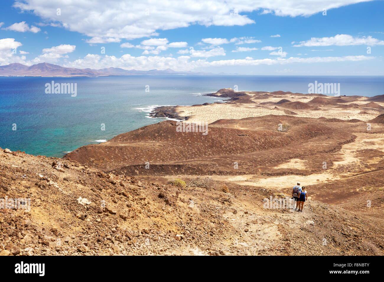 Touristen auf der Insel Lobos, Kanarische Inseln, Spanien Stockbild