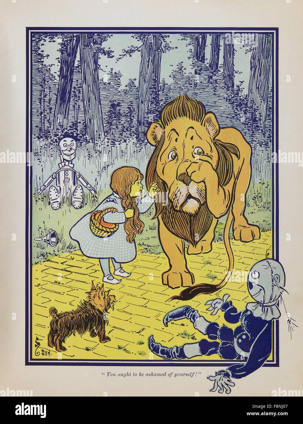 DER wunderbare Zauberer von OZ Dorothy trifft den feigen Löwen gezogen für die erste Ausgabe im Jahr 1900 Stockbild