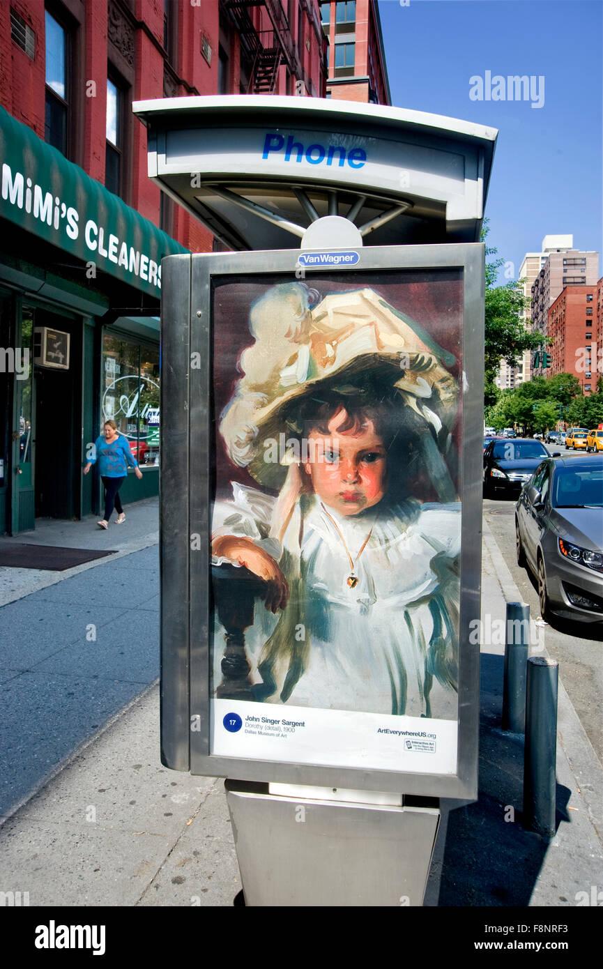 Ein Gemälde von John Singer Sargent ist auf eine Telefonzelle Kiosk ...
