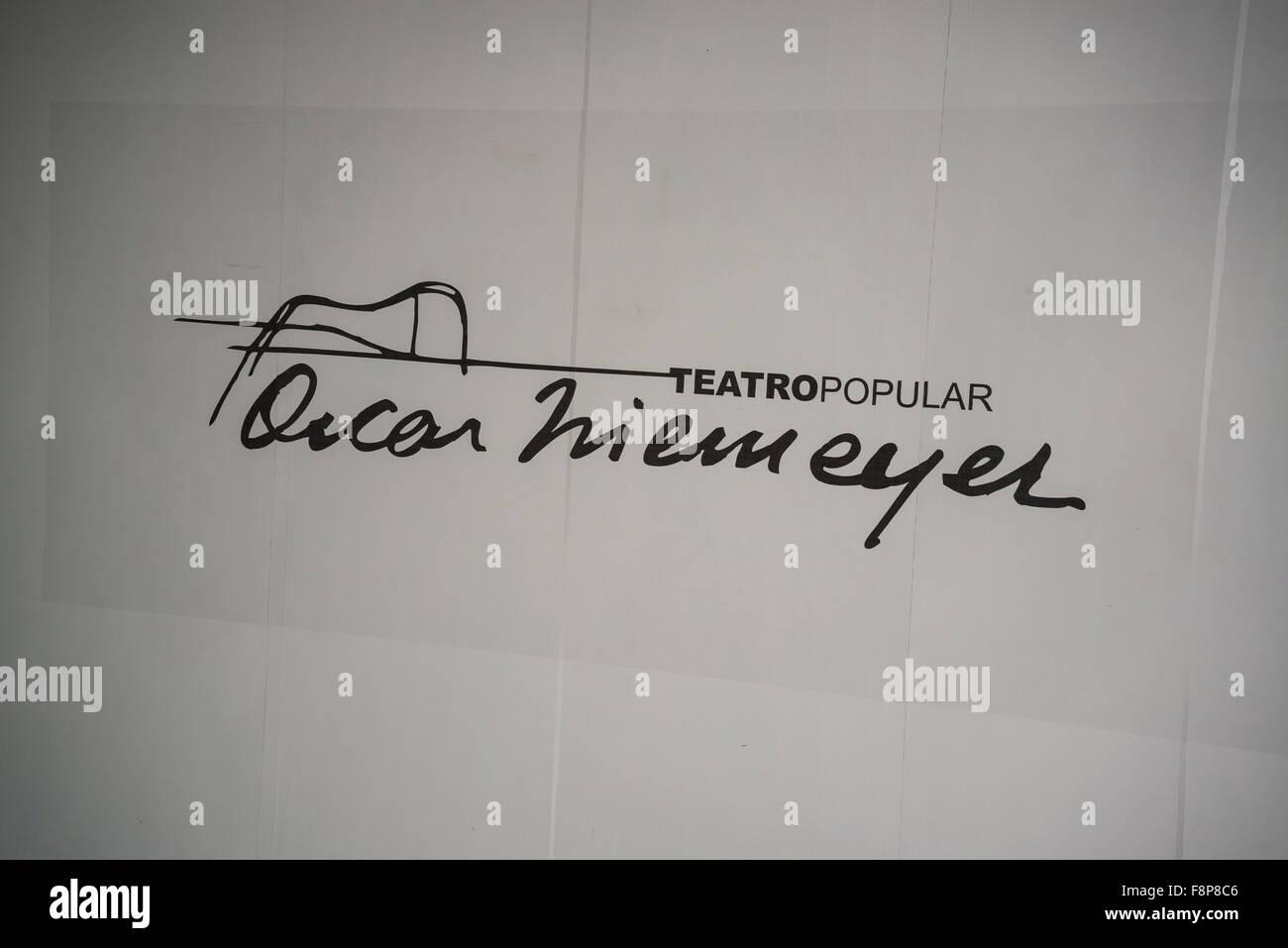 Beliebte Theater von Niteroi, Niemeyer Weg Kulturzentrum, Unterschrift, Niteroi, Rio De Janeiro, Brasilien Stockbild