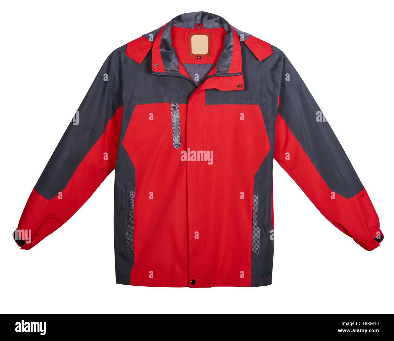 Rote Herren Jacke im Freien. Isoliert auf weißem Hintergrund Stockbild
