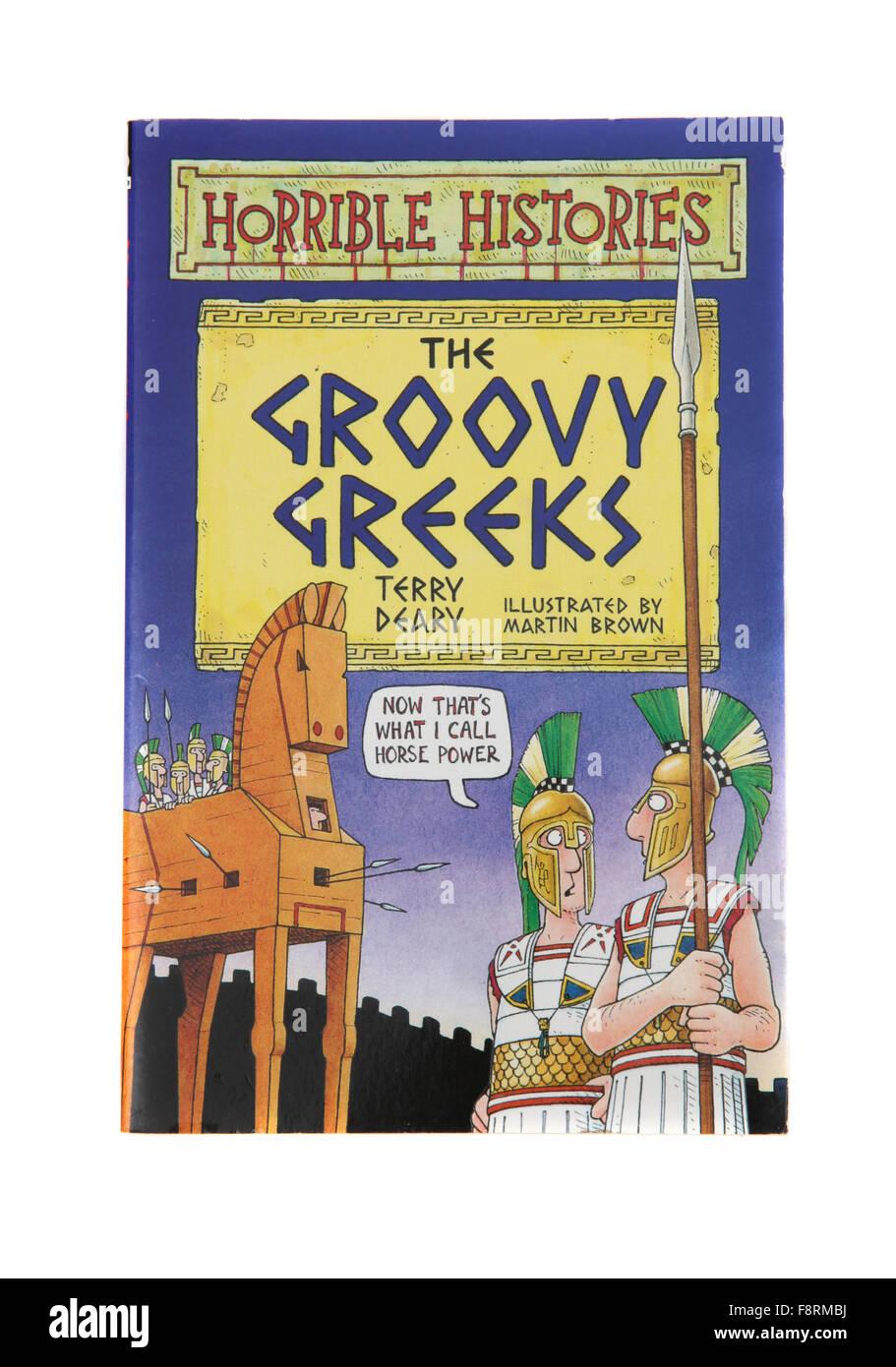 Das Buch The Groovy Griechen aus der Serie von schrecklichen Geschichten von Terry Deary. Stockbild