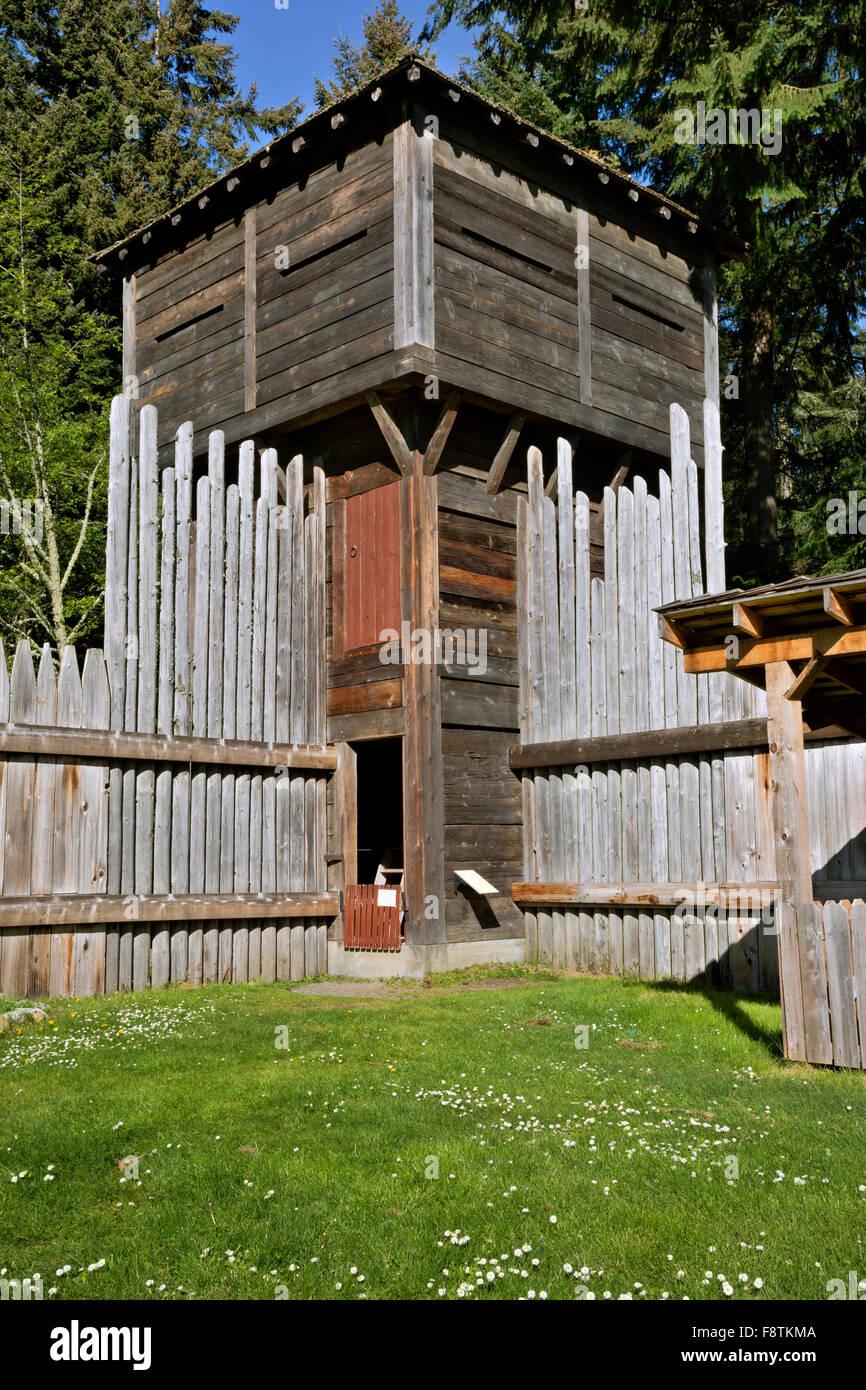 washington - traditionelle blockhaus und der äußeren palisaden wand