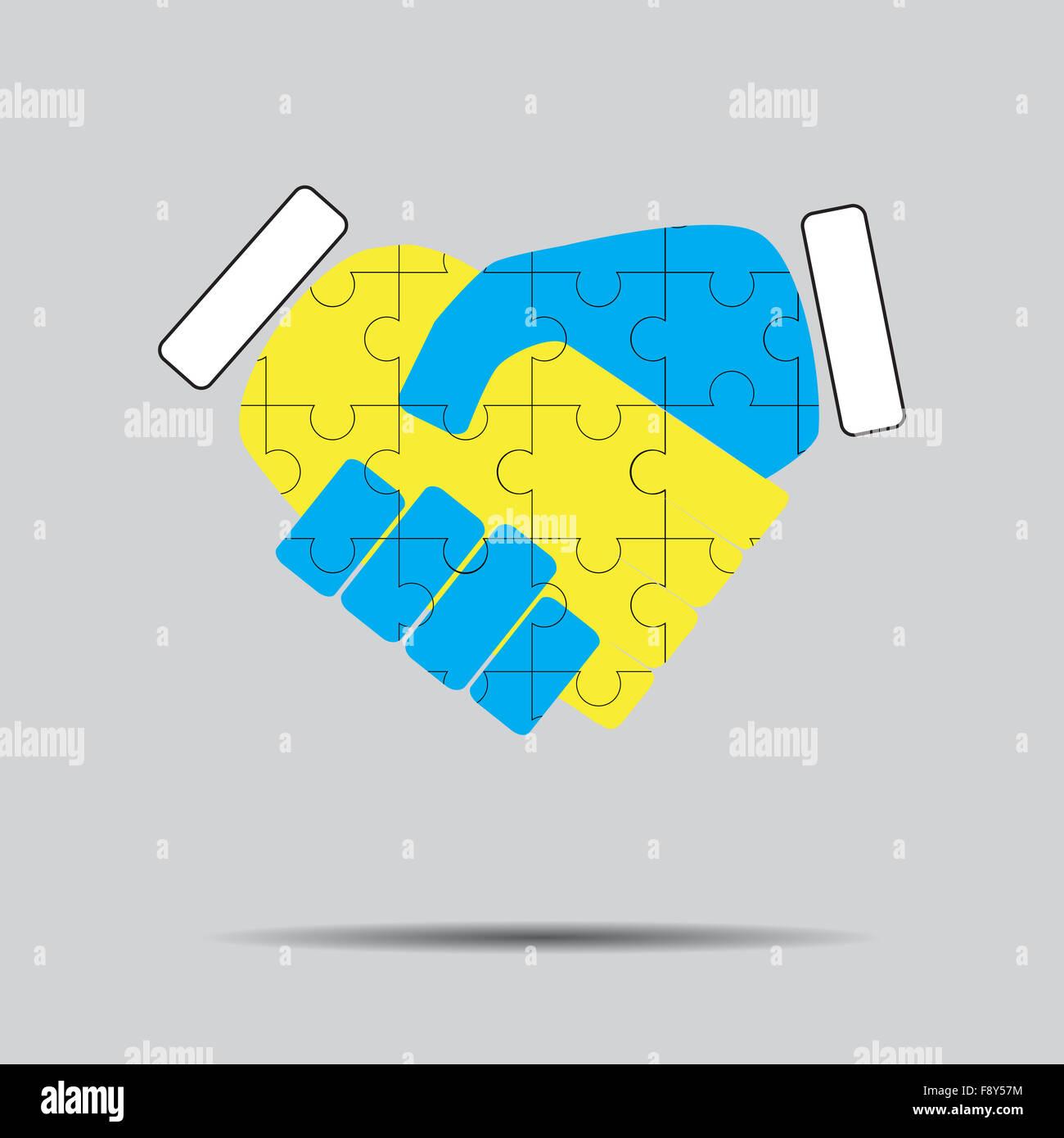 Handshake Zusammenarbeit Puzzle Muster Teamarbeit Partnerschaft