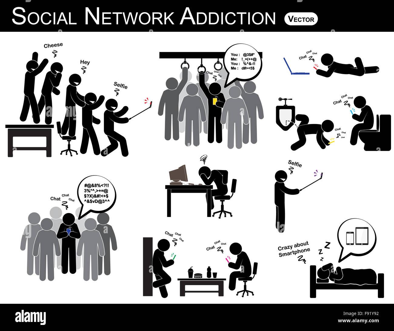 Soziales Netzwerk Sucht Ein Mann Smartphone Verwenden Sie Jedes Mal