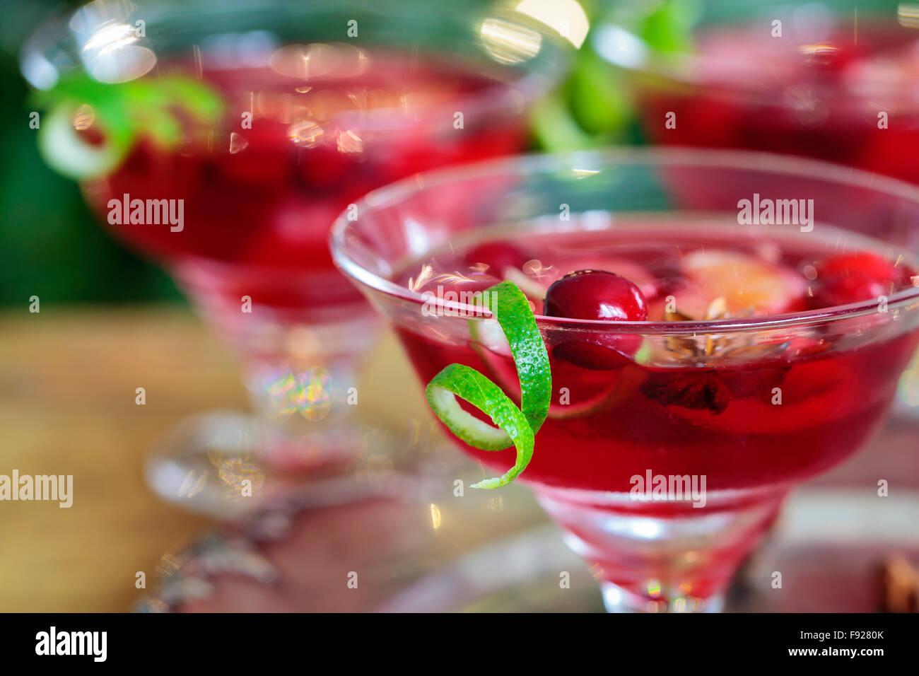 Cranberry und Clementine Christmas cocktail Stockbild