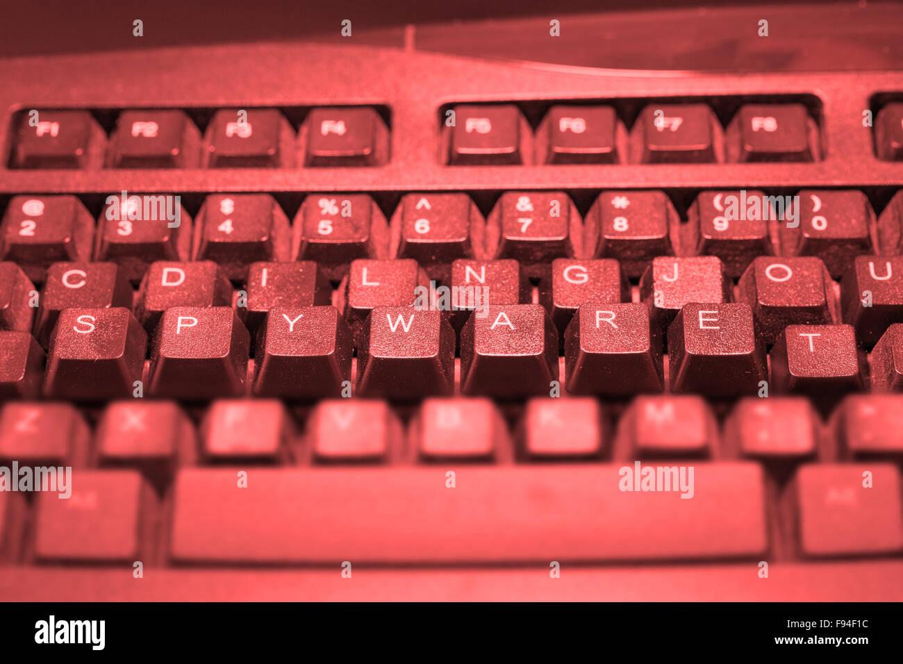 Tastatur mit dem Wort Malware erhöhten Stockbild
