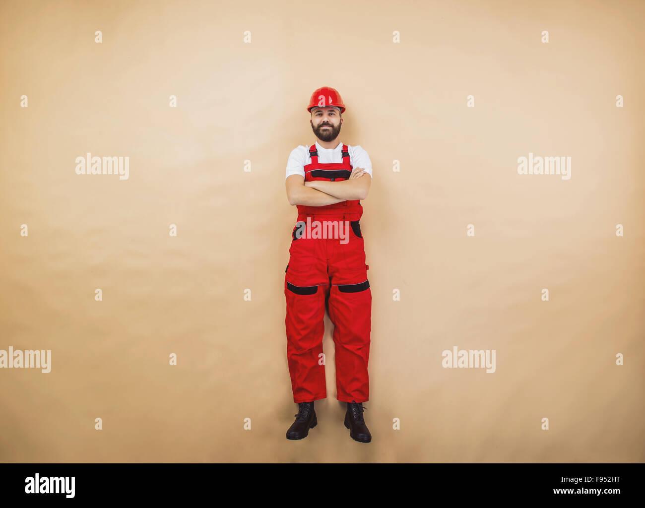 Lustige Bauarbeiter Posiert Im Studio Stockfoto Bild 91695572 Alamy
