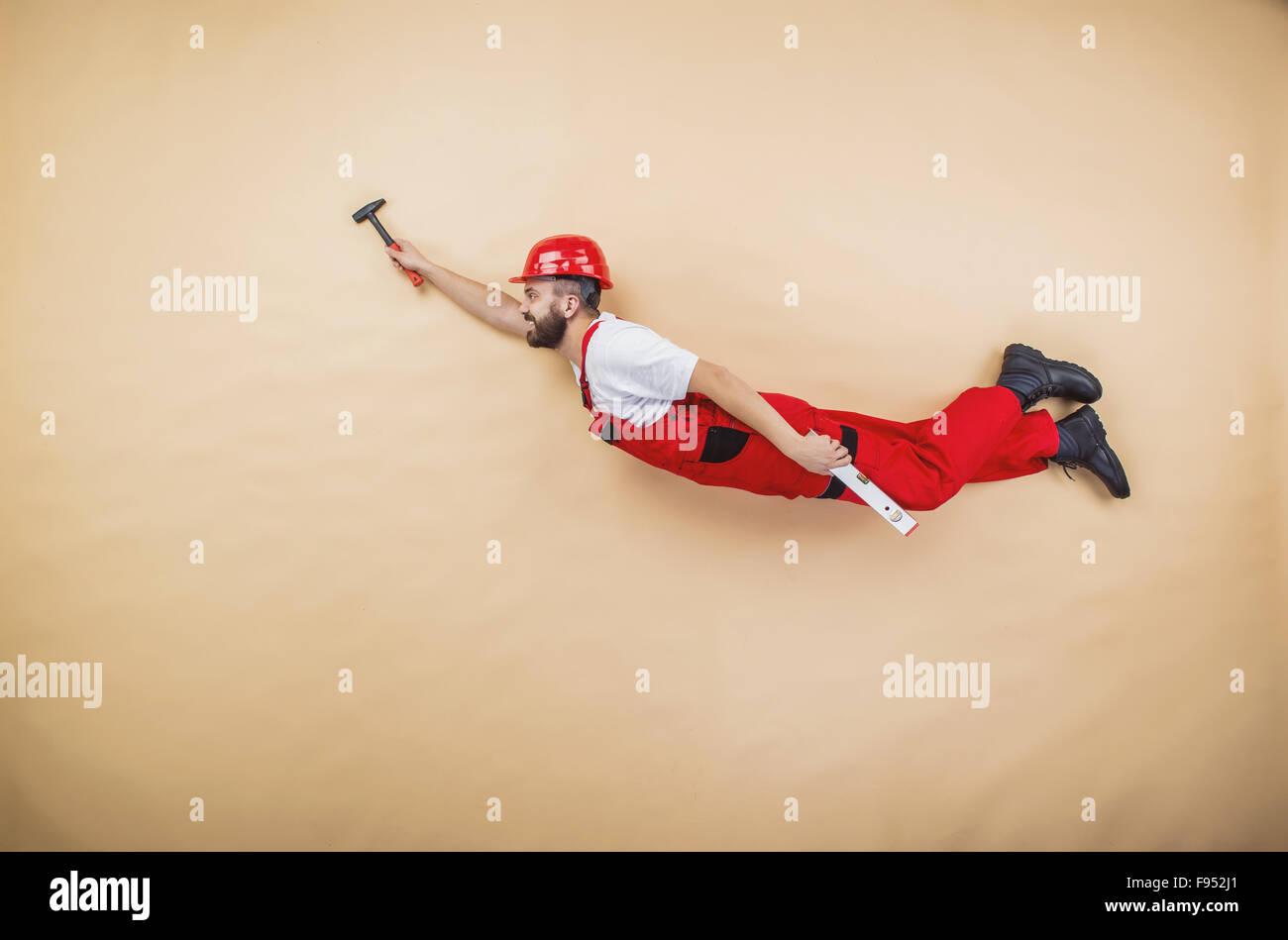 Lustige Bauarbeiter Posiert Im Studio Stockfoto Bild 91695577 Alamy