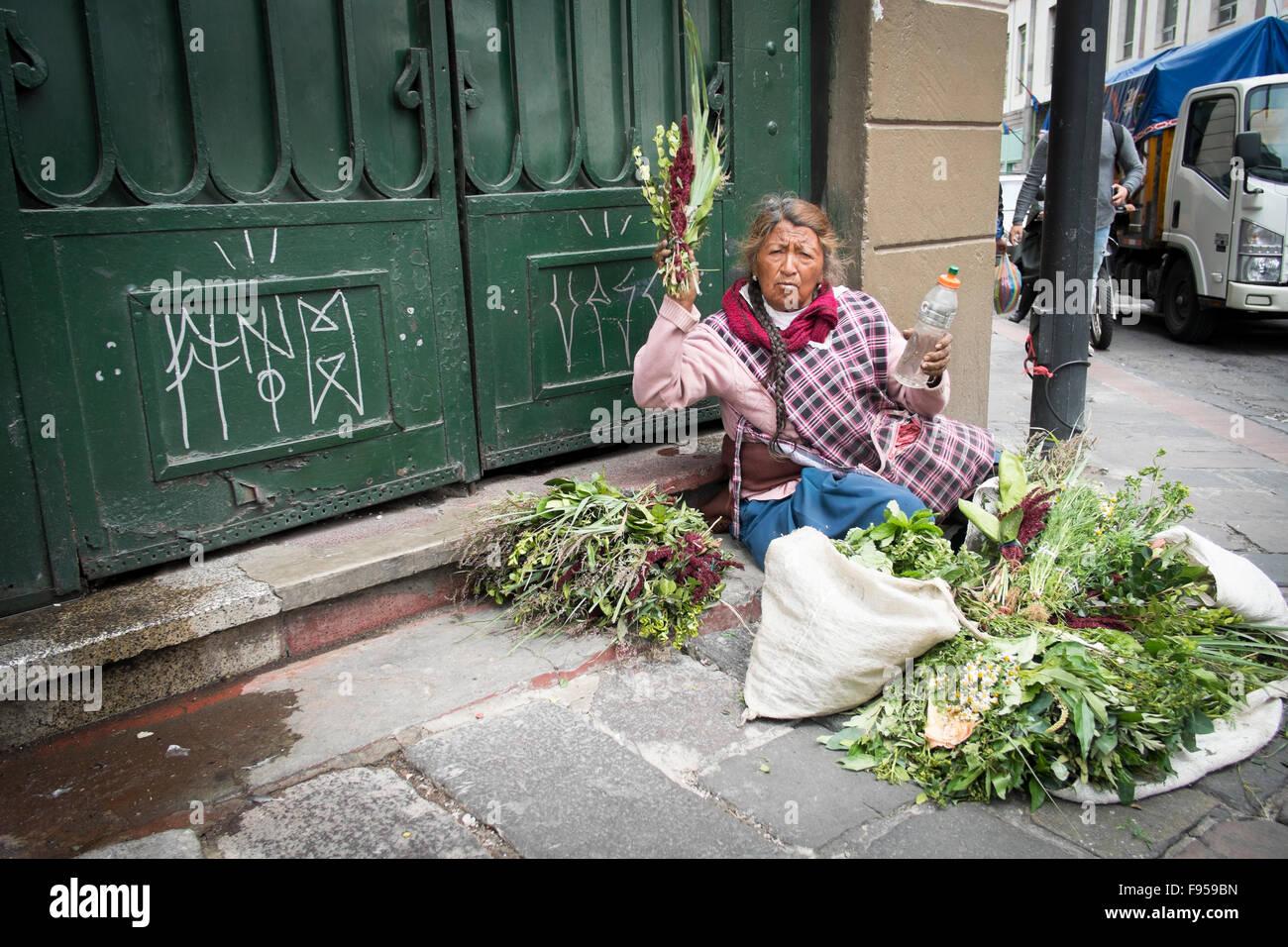 Quito, Ecuador. Eine weibliche Straßenhändler Stockbild