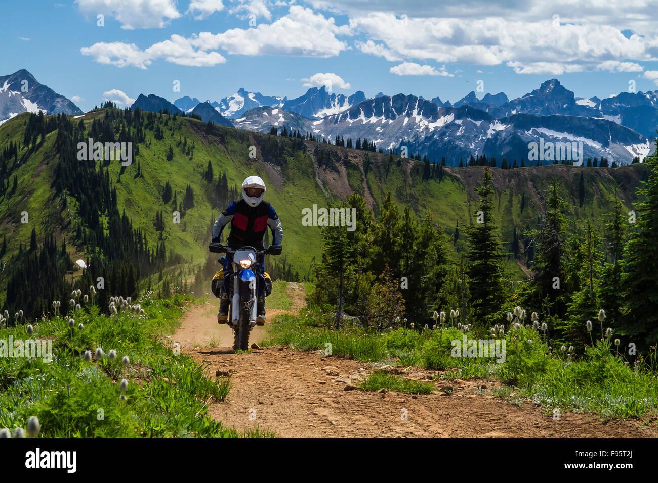 Motorrad, Dirt Bike, Valhalla, Husaberg, Enduro, Dirt bike, Offroad, Motorradfahren, Hagelsturm Ridge, Britisch Stockbild