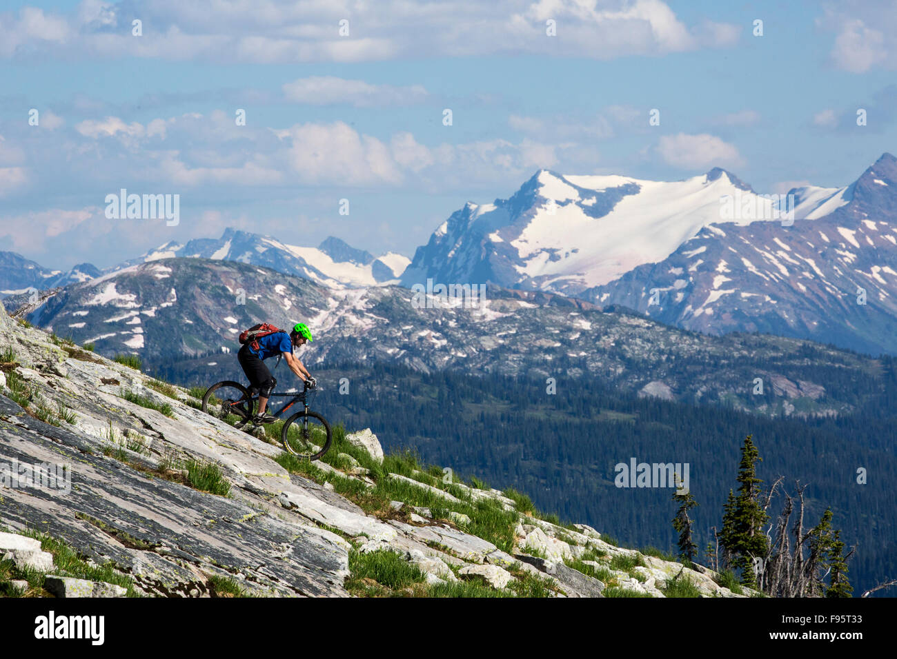 Mountainbiking, Adlerpass, Mount Englisch, Monashee Mountains, Revelstoke, Britisch-Kolumbien, Kanada, alpine Mountain Stockbild