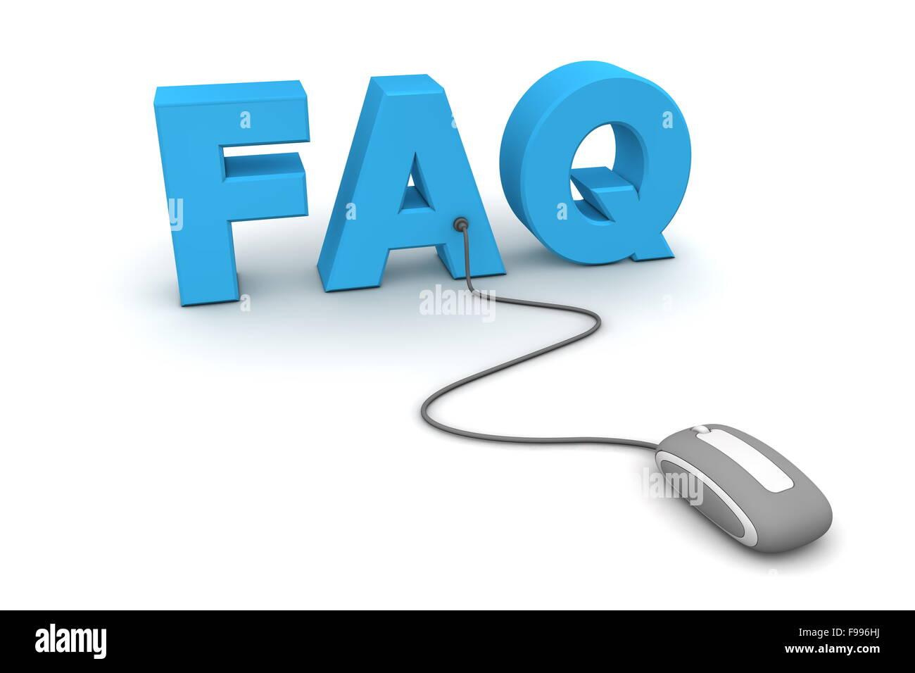 Durchsuchen Sie die FAQ - graue Maus Stockbild