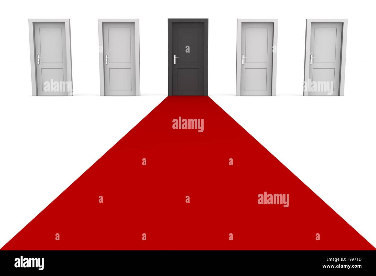 Fünf Türen und ein roter-Teppich - schwarz Stockbild