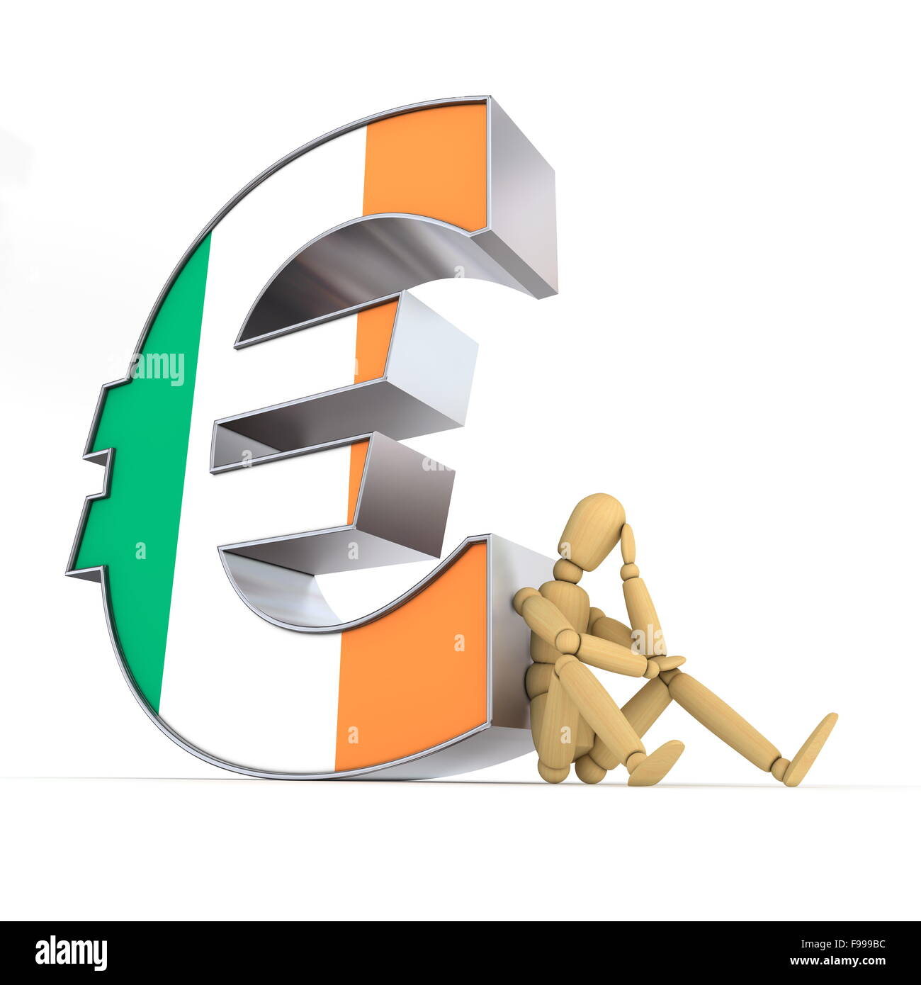 Puppe sitzt am irischen Euro-Zeichen Stockbild