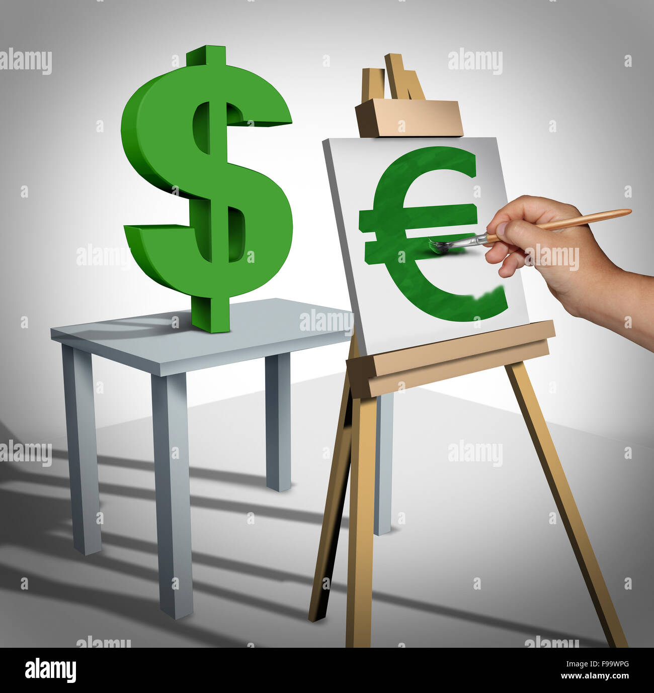 Währungsumrechnung und Geld tauschen finanzielle Geschäftskonzept als drei dimensionale Dollarzeichen Stockbild