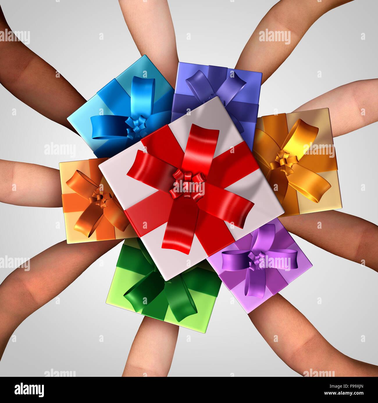 Menschen geben Geschenke Konzept als eine Gruppe von ...