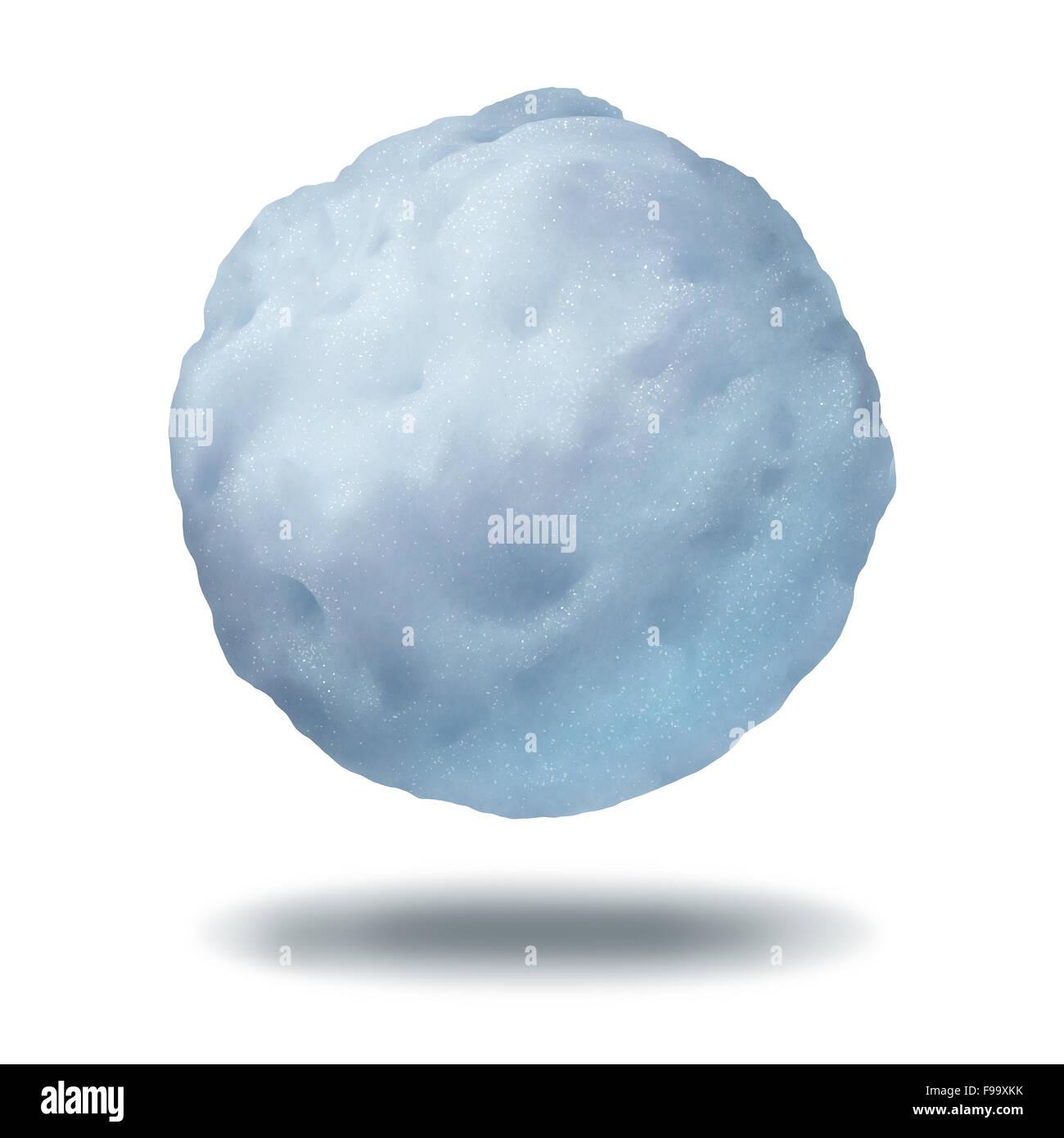 Schneeball-Symbol als eine schwimmende oder geworfene gefrorene Winter Eis Kristall Kugel isoliert auf einem weißen Stockbild