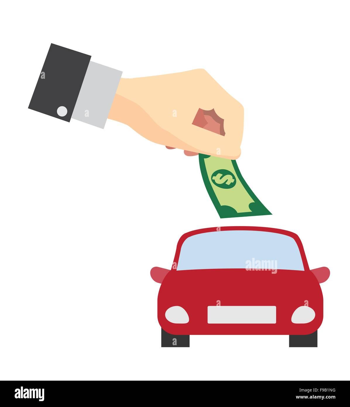 Geld sparen für kaufen-Auto-Konzept Stockbild