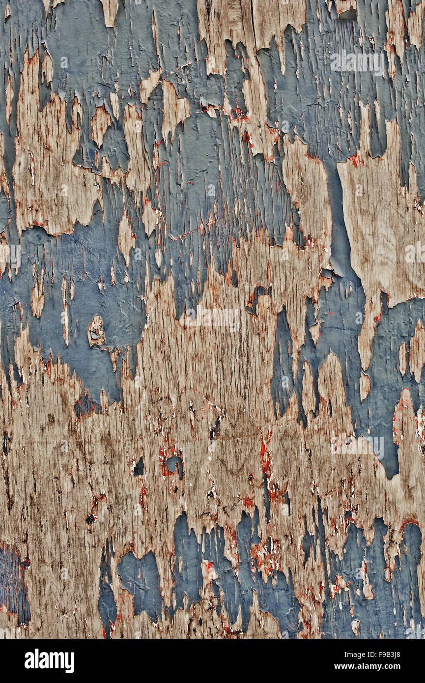 Blaue abblätternde Farbe auf Holz Stockbild