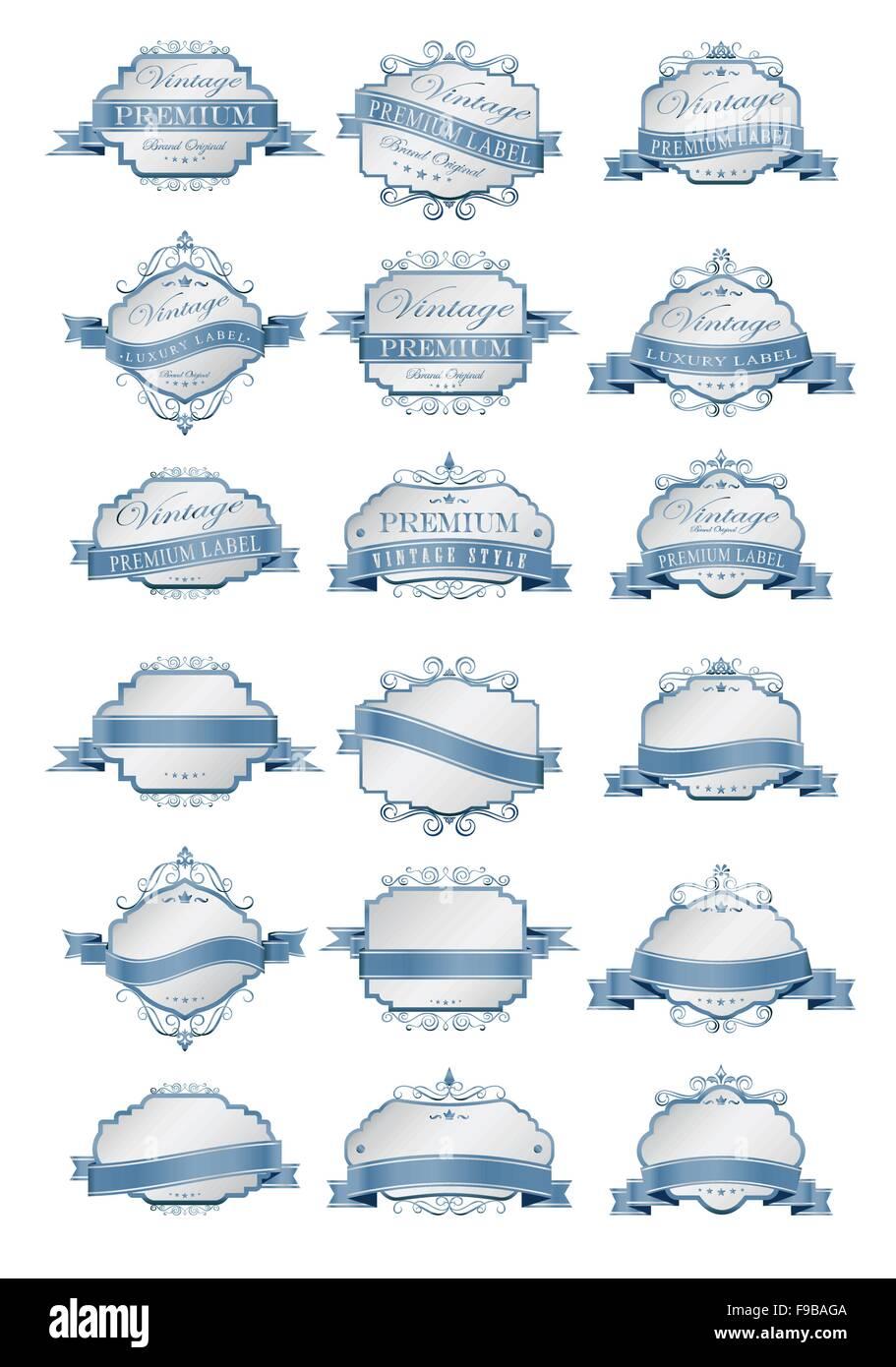 Weiche blaue Luxuslabels und leere Etiketten Vorlage Vektor ...