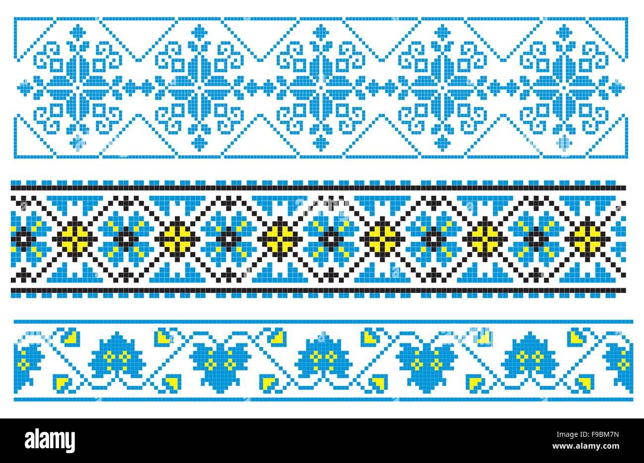 Vektor-Illustrationen der ukrainischen Stickerei Ornamente, Muster ...