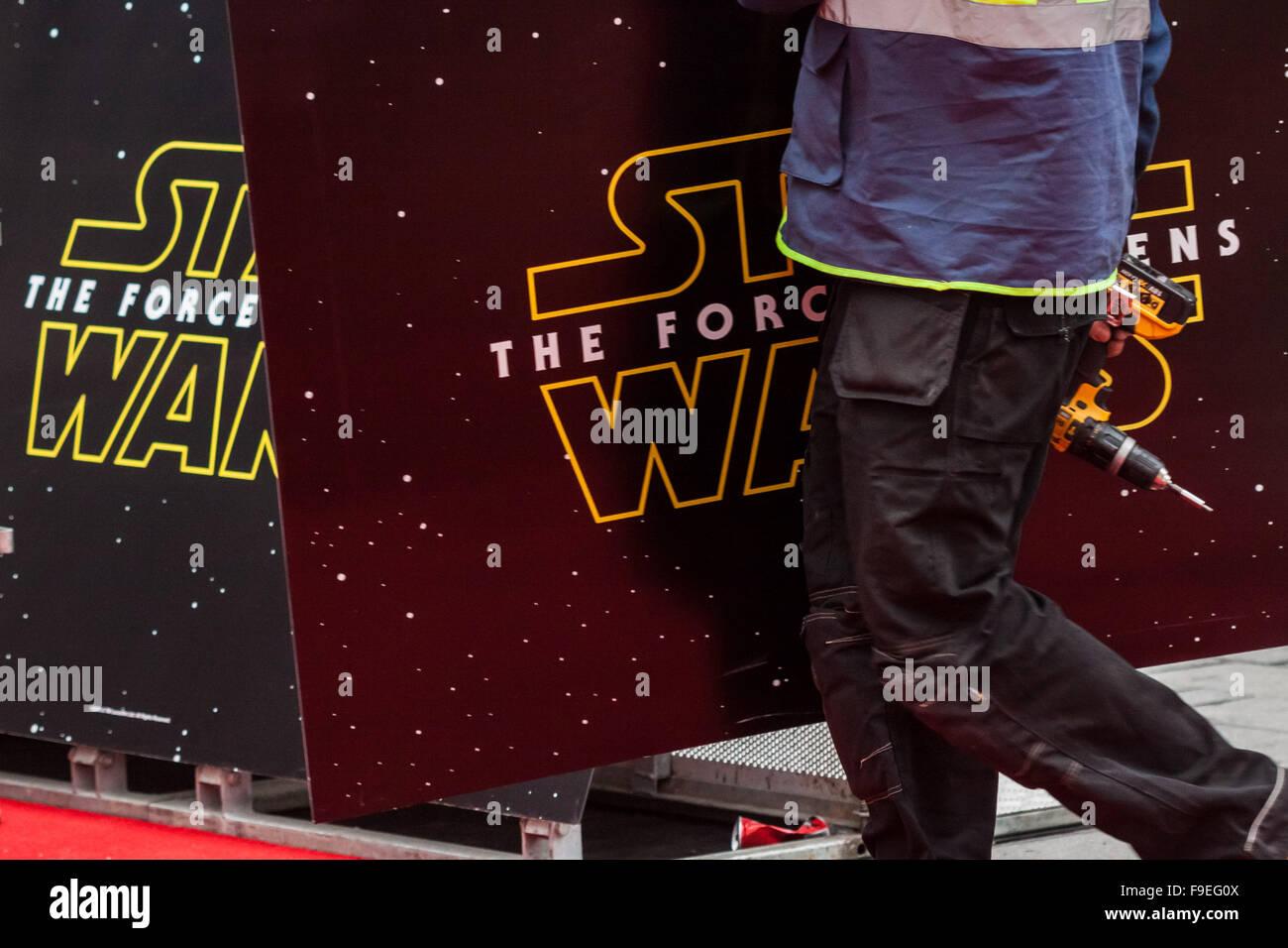 London, UK. 16. Dezember 2015. Star Wars: Die Erwachen der macht Vorbereitungen für British Film premiere im Stockbild