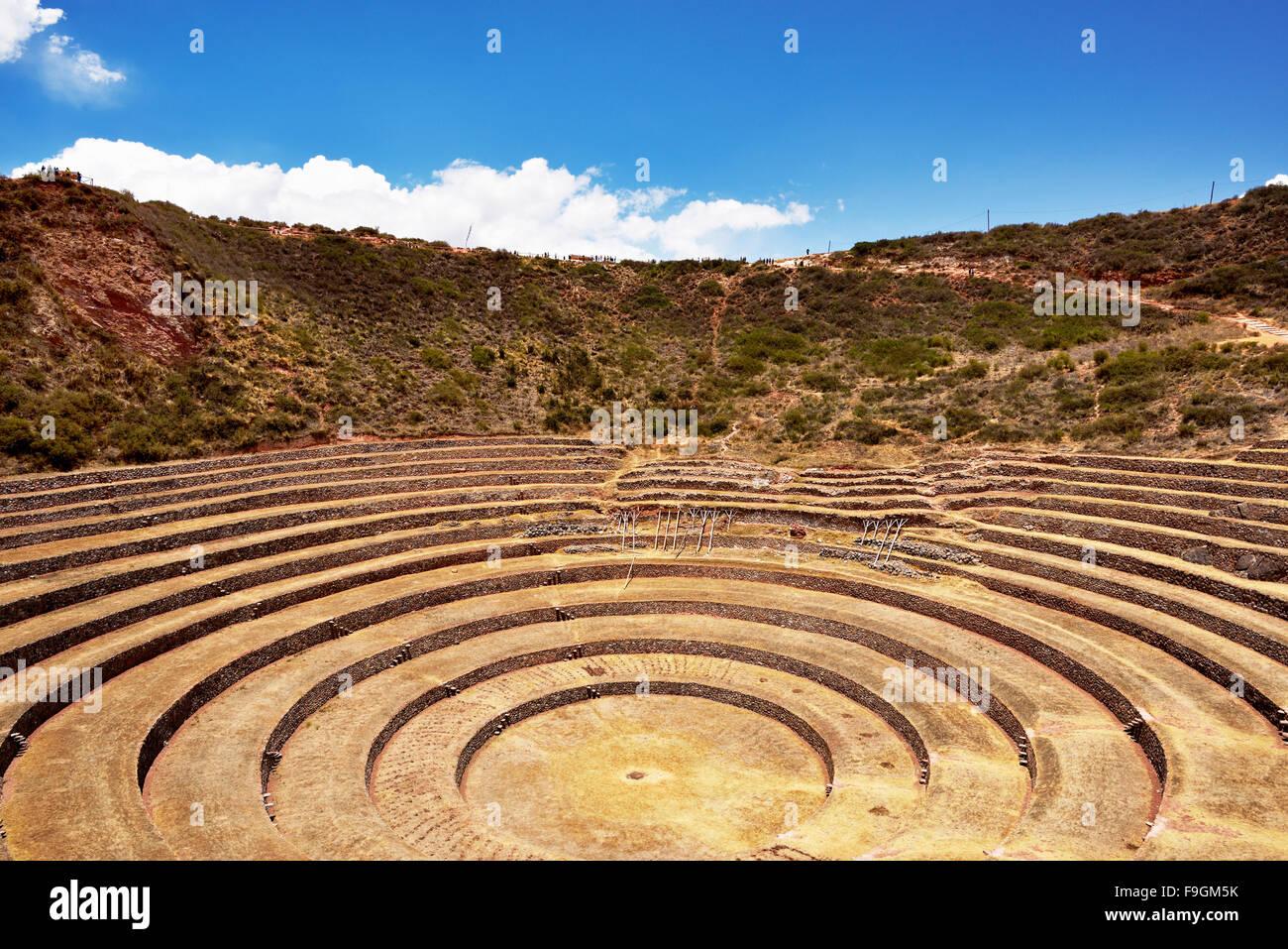 Inka-Terrassen im Heiligen Tal, Landwirtschaft, Moray, Ollantaytambo, Peru Stockbild