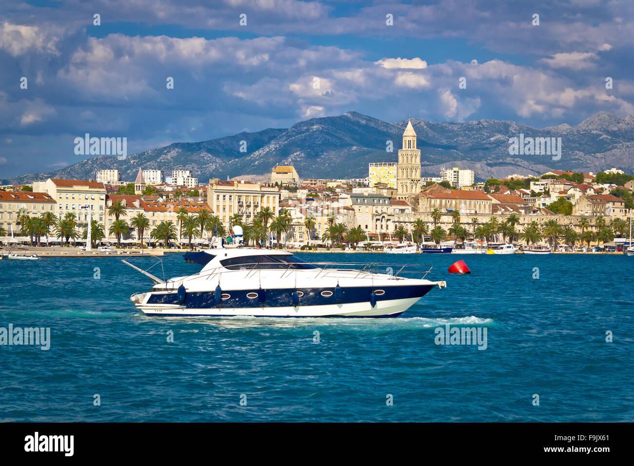 Yacht im Blick Split, Dalmatien, Kroatien Stockbild