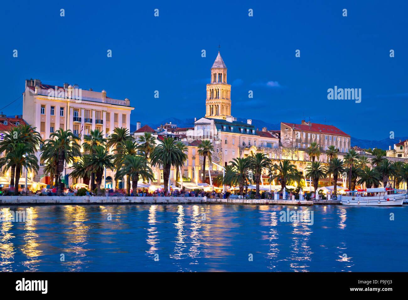 Bunte Split Abend Blick, Dalmatien, Kroatien Stockbild