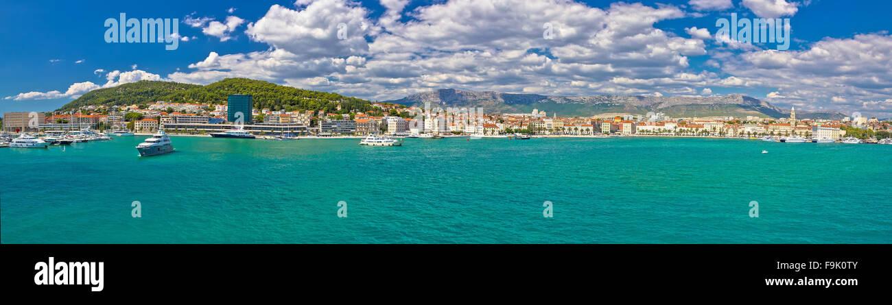 Split blau Uferpromenade Panoramablick, Dalmatien, Kroatien Stockbild