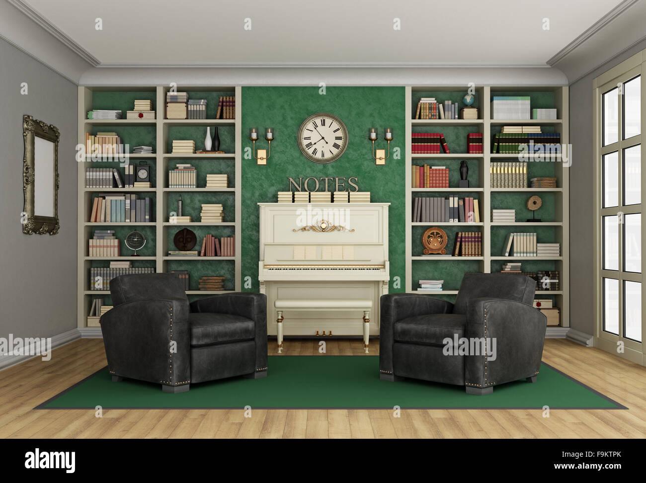 Superbe Luxus Wohnzimmer Mit Großen Bücherregal Voller Bücher Zwei Schwarzen  Klassischen Sessel Und Klavier   3D Rendering