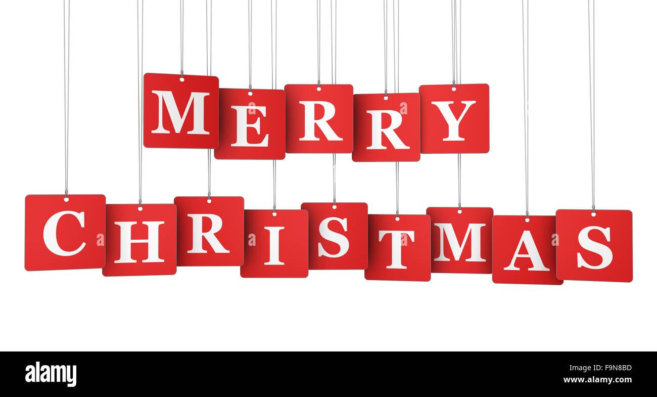Frohe Weihnachten Zeichen, Text und Wörter auf rot gehängt Label ...