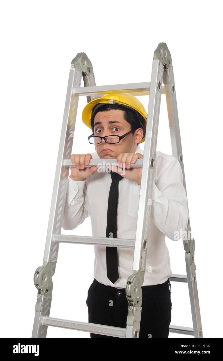 Bauarbeiter In Lustige Konzept Auf Weiss Stockfoto Bild 92067575