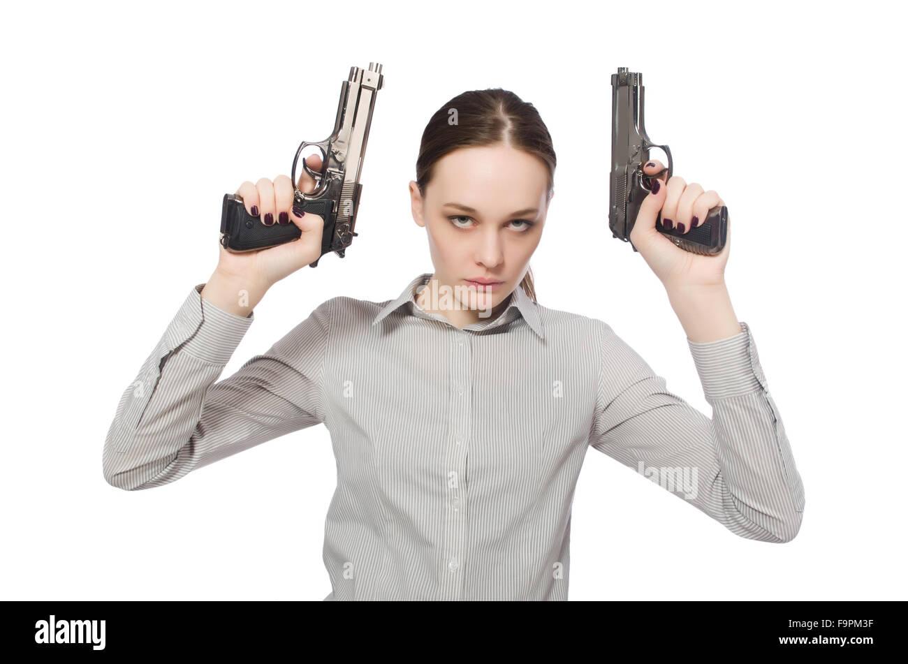 junge geschäftsfrau in lustige konzept auf weiß stockfoto