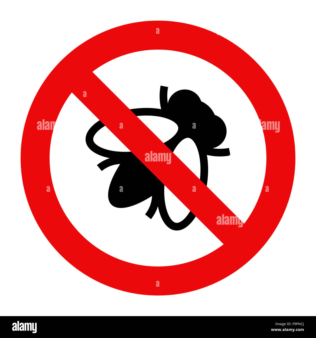 Fliegen Sie, Warnzeichen isoliert auf weißem Hintergrund Stockbild
