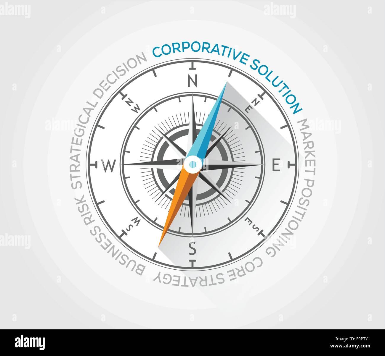 Vektor-Kompass über Marketing und Leben Stock Vektor