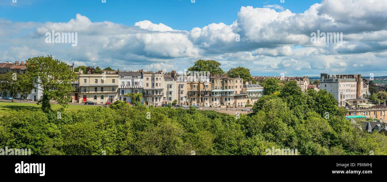 Panorama Blick von der Clifton Suspension Bridge an Cliffton Dorf, Bristol, Somerset, England Stockbild