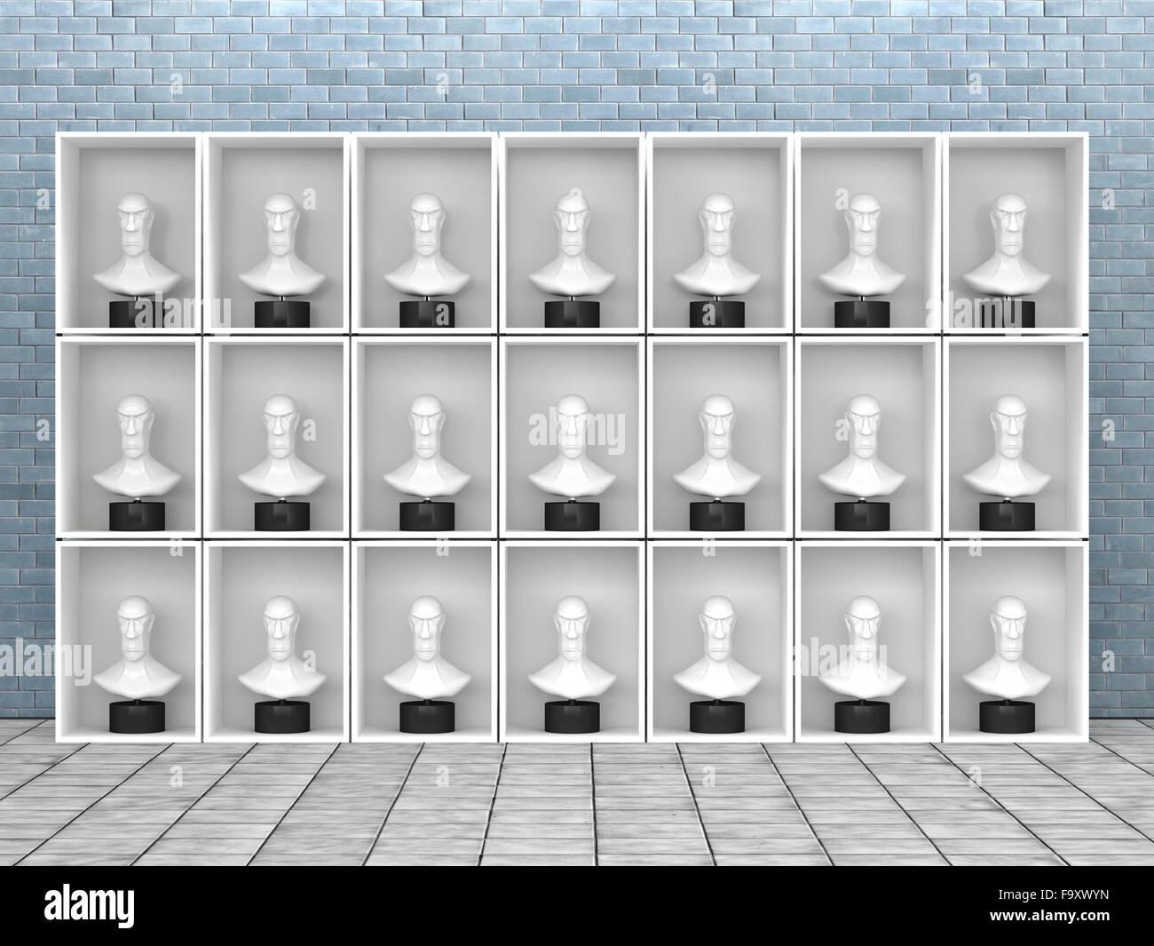 Identische Büsten im Regal, 3D Rendering Stockbild