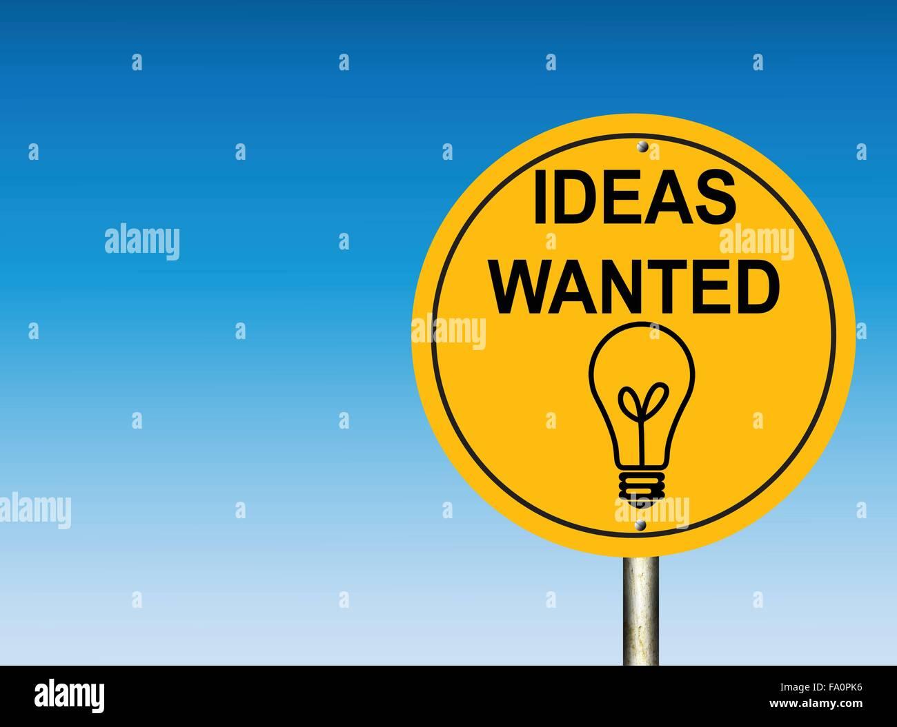 Wollte Ideen Straßenschild Stockbild