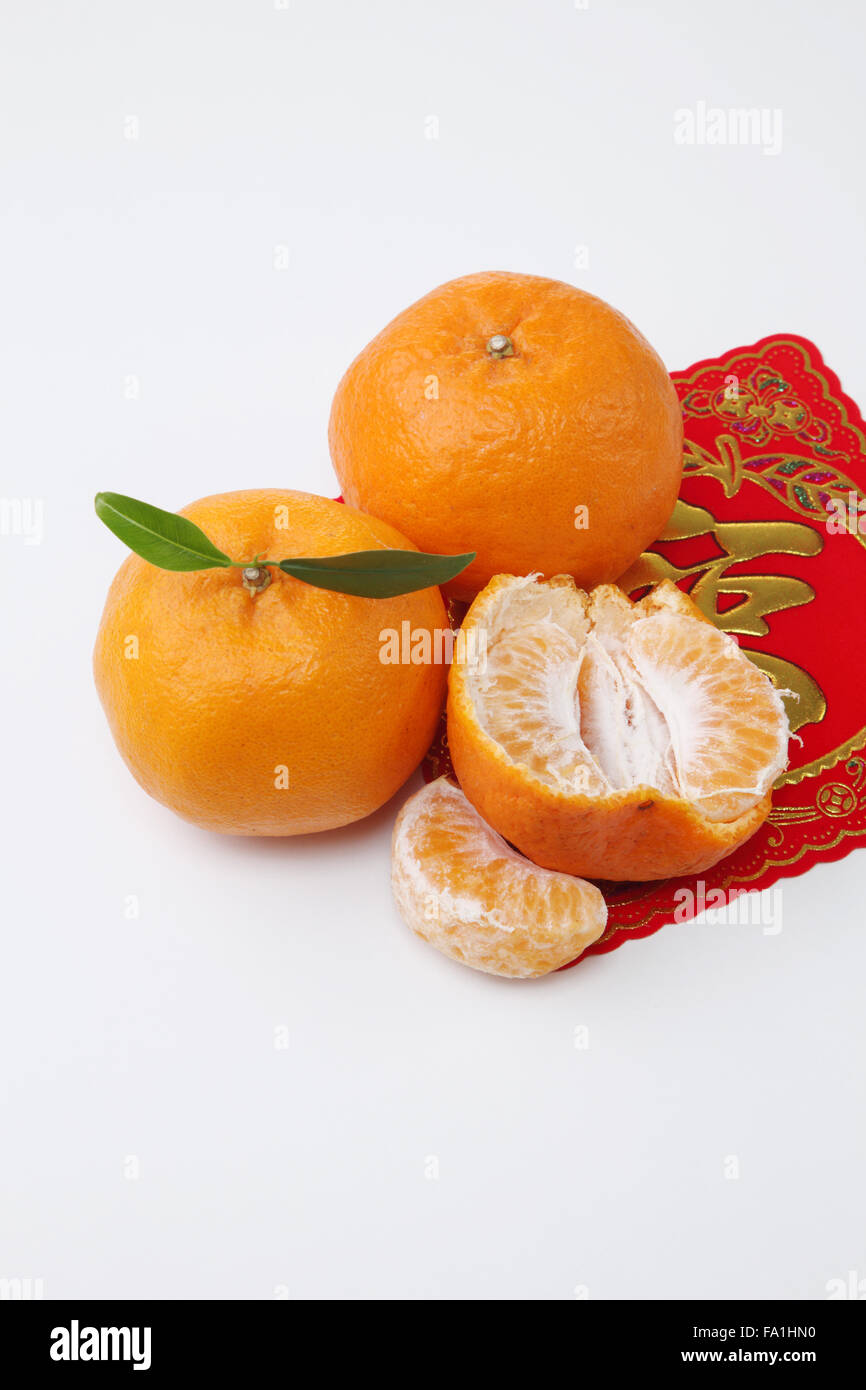 Mandarinen mit dem Gruß Aufkleber mit chinesischen Schriftzeichen ...