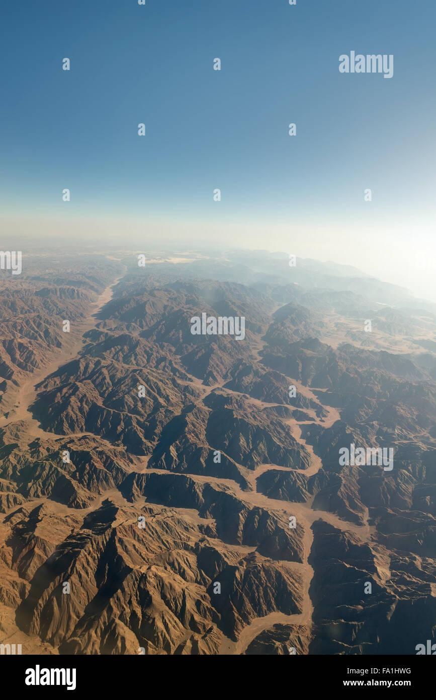 Gebirge in Sinai aus Vogelperspektive Stockbild