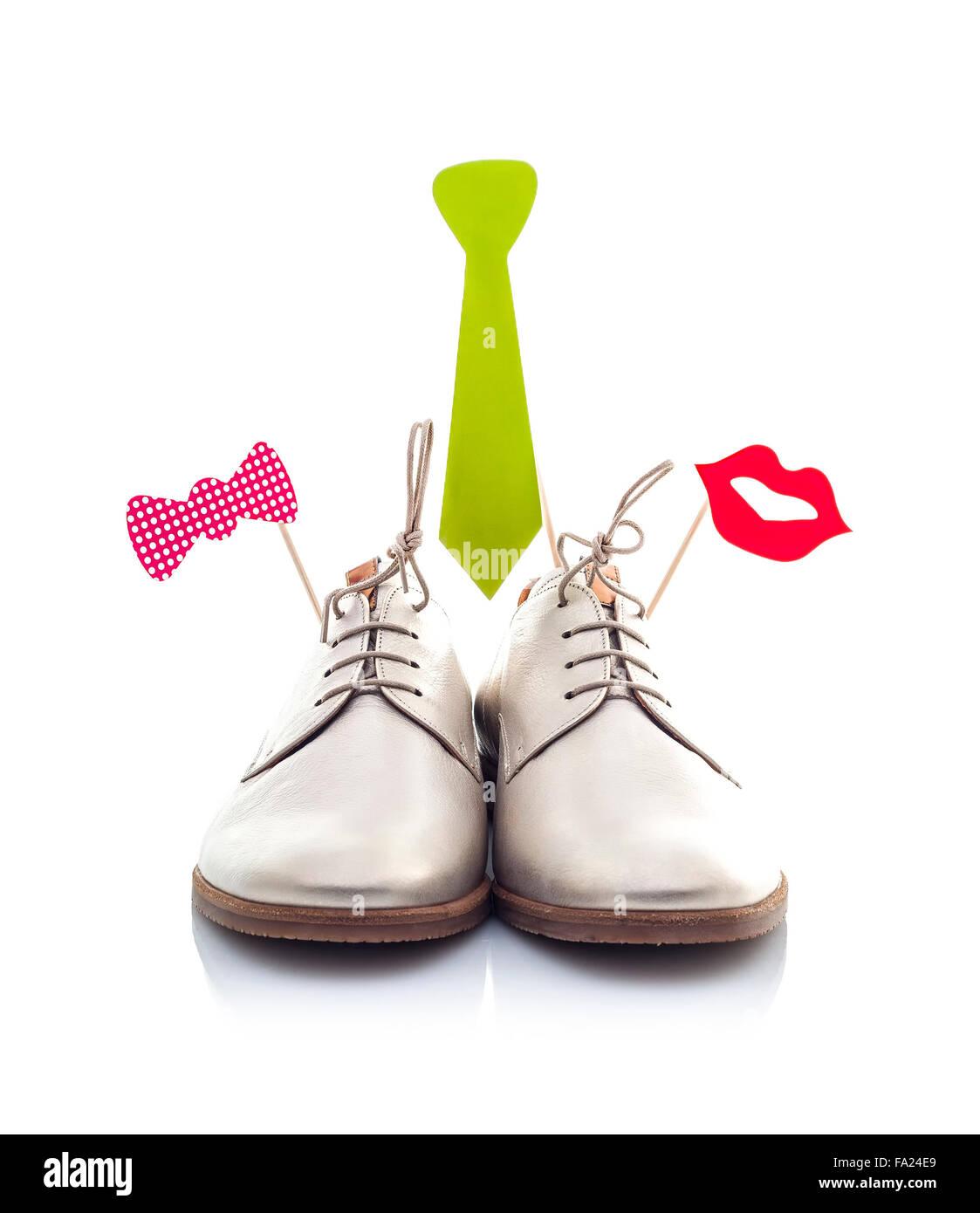Lustige Schuhe Isoliert Auf Weissem Hintergrund Stockfoto Bild