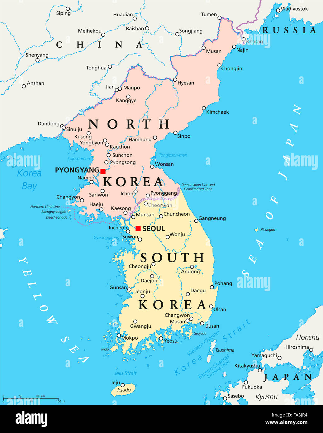 Grenze Nordkorea Südkorea Karte.North Korea South Korea Map Stockfotos North Korea South Korea Map