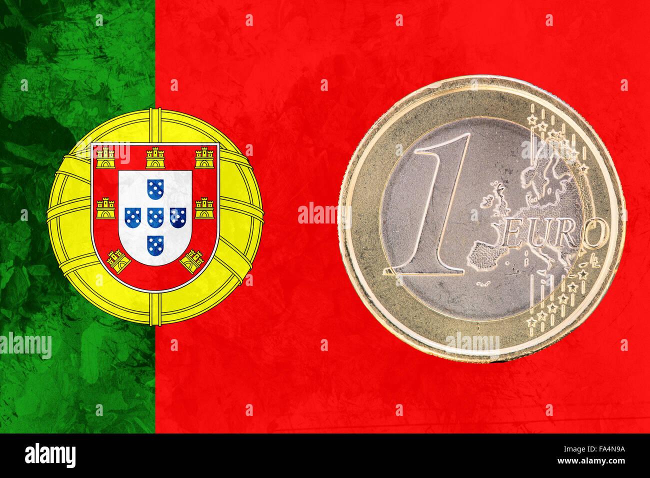 Gemeinsame Seite Der 1 Euro Münze Aus Portugal Isoliert Auf Der